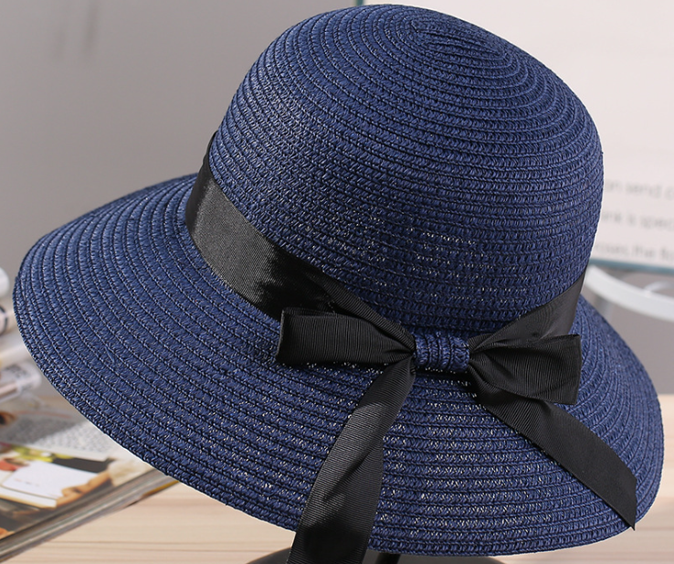 Big Brim Paper Straw Hat Navy