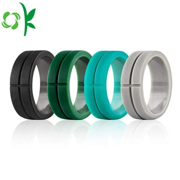 Senaste Debossed Cross Cool Fashion Silicone Round Rings