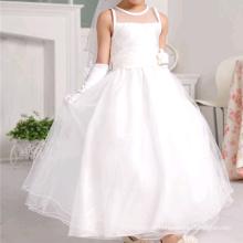 Crianças brancas vestidos de casamento vestido de menina de flor chão comprimento crianças vestidos de casamento