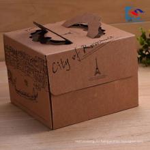 Высокое качество подгонять логотип коричневый крафт-бумага коробка торта с ручкой