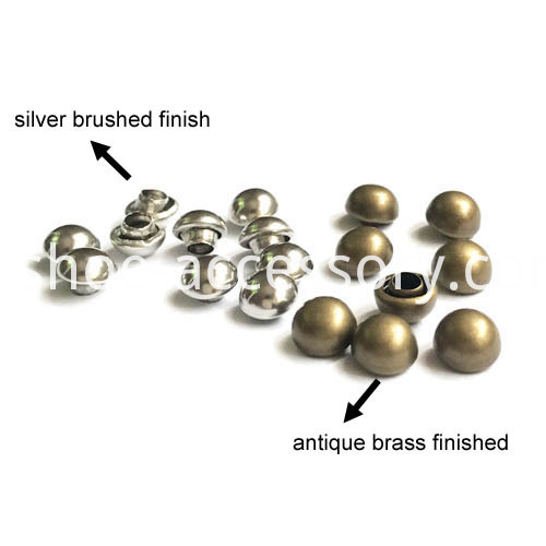 silver & antique brass dome rivets