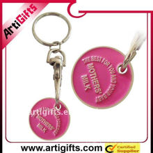 promotion metal trolley coin keyring
