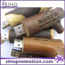 Pila de madera de madera promocional Brown 64GB USB Flash Drive