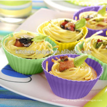 Cores variáveis variáveis Copos reutilizáveis do muffin do silicone
