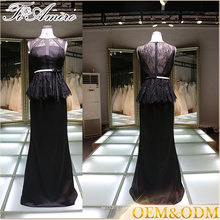 2017 Chine fournisseur élégante femme noire nuit robe de soirée robe de soirée en dentelle noire avec ceinture