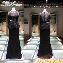 2017 China supplier elegant black women night prom dress black lace evening dress with belt