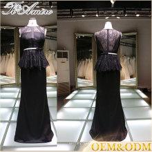 2017 China fornecedor vestido de noiva preta elegante do vestido das mulheres pretas do vestido de noite do laço preto com correia