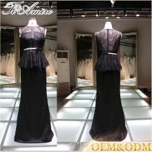 2017 поставщики Китай элегантный черный женщин вечер выпускного вечера платье черное кружево вечернее платье с поясом