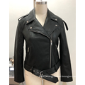 Women's Black Faux Leather Moto Jacket