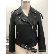 Chaqueta de moto negra de cuero sintético para mujer