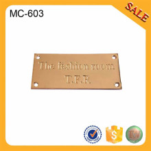 MC603 Square decorative letter metal logo labels for coat/handbag/clothing