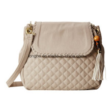 Quilted Design Tassel Charm Women Crossbody Bag (ZXS0117)