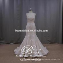 Великолепная Королева Анна Русалка Bridsal Платье Ослепительно Вышивать Спинки Свадебное Платье
