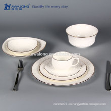 Vajilla de porcelana blanca pura en relieve rose patrón vajilla dinnerset