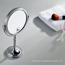 Miroir de maquillage permanent de dessus de table pivotant chromé double face