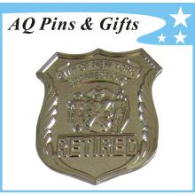 Insigne de police en métal pour badge d'agent à la retraite (badge-127)