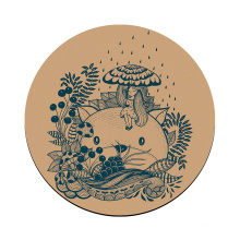 Natural rubber large diameter round custom logo cork round yoga mat antiskid and sweat proof
