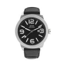 Badatong schwarz echtes Leder Quarz Uhren Männer