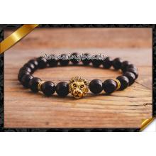 Pulsera de oro pulseras de león, ágata negro pulsera de piedra suelta hecho a mano (CB058)