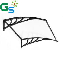 Exterior Curved Door Black Aluminum Bracket Carport Polycarbonate  Canopy Block Sun Rain Roofing Pc Solid Sheet