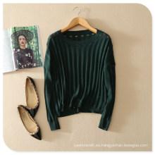 Ahueca hacia fuera con Back Print Pure Cashmere Top Pullover Sweater