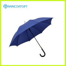 Blue Straight Hook Handle Rain Umbrella