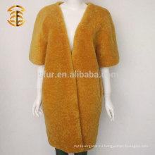 Мода женщин V Necky Half Sleeve Подлинная Shearling овчины из меховой шерсти ягненка