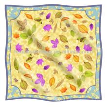 Шелковый шарф для весны Оригинальный шелковый шарф с дизайном листьев