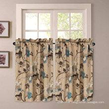 24'' Length Vintage Floral Brown Blue Kitchen Curtain