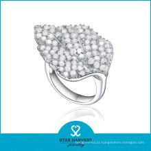 Folha em forma de anel de jóias de prata 925 com baixo moq (r-0584)