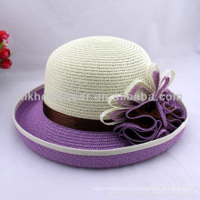 2014 Ladies Fashion Crimping Peacock Flower Paper Straw Fedora Sun Hats