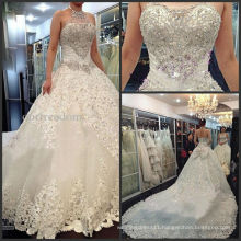 2014 Newest Luxury Wedding Dresses Halter Crystals Beads Backless A Line Chapel Train Lace Bling Customed Ivory Bridal Gowns
