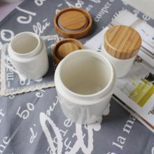 Ceramic Tea Coffee Sugar Storage Jars Wood Lid