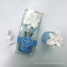 100ml reed diffuser in frosted glass bottle with ceramic flower in box for home