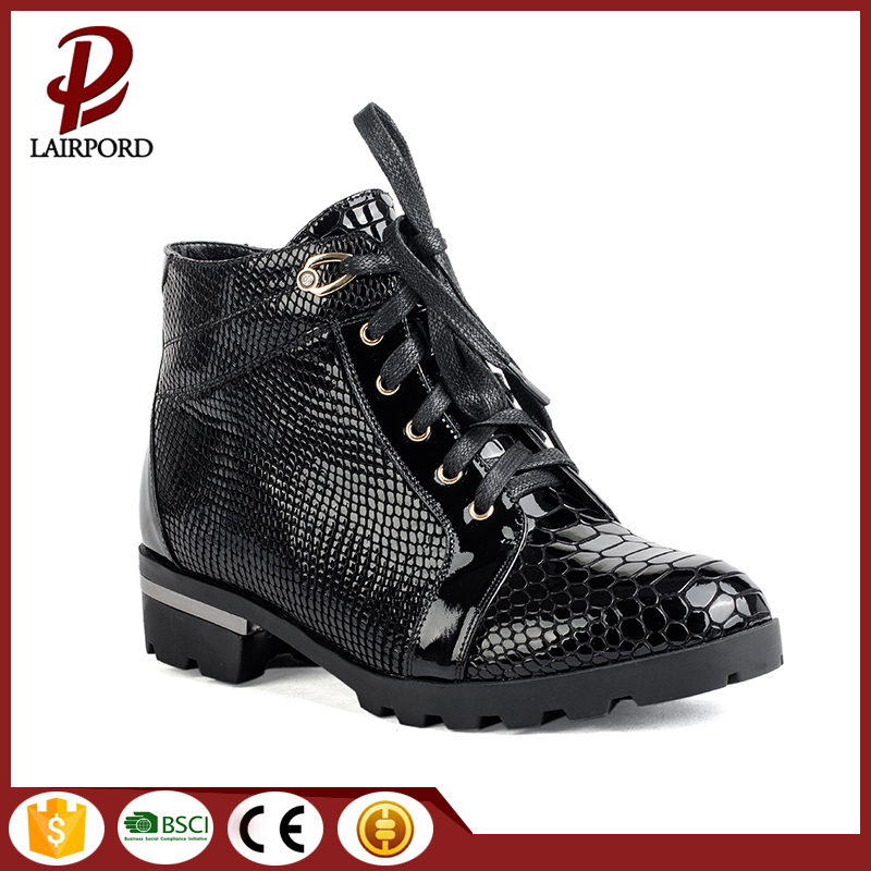 Falt genuine leather black winter women shoes