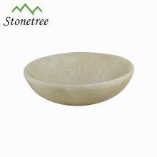 Venta caliente nueva venta al por mayor blanco Natural piedra ovalada plato mármol plato