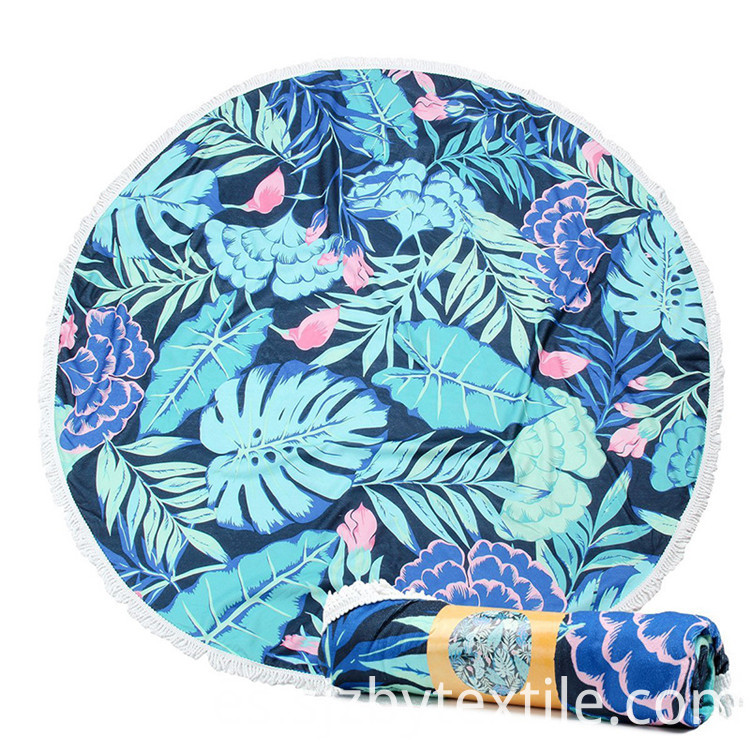 Round Microfiber Beach Towels With Tassel