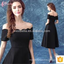 Schwarz Satin Off-Schulter Fitting Garn gefärbt Suzhou Abendkleid