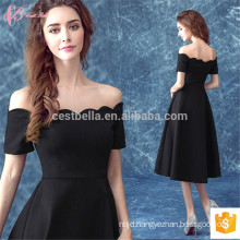 Black Satin Off-shoulder Fitting Yarn Dyed Suzhou Evening Dress