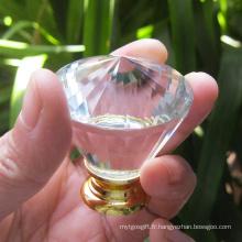 Traction de luxe en cristal avec armature de salle de bain