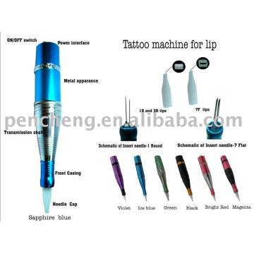 Profesional pluma de maquillaje permanente para la alimentación de labios y máquina de tatuaje más rápido de aluminio-doble aguja