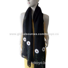 Woven scarf with plain dyeing and embroidery, made of linen and silk, size of 180*70+overlocked