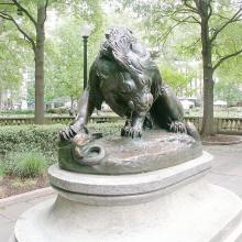 2018 heißer Verkauf Große Bronze Yard Riese stehende königliche Löwen Statue