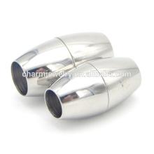 Bijoux BX012 Trouver un fermoir à cordon magnétique en acier inoxydable - Design rond élégant - Adapté au cordon 6 / 7mm