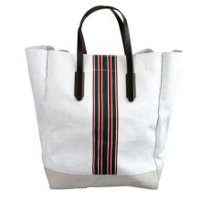Large canvas tote bag with zipper