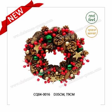 Dia 35cm Guirnalda de Navidad de precio de fábrica para fiesta y decoración de vacaciones de plástico