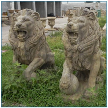 2017 baru Reka bentuk patung haiwan marmar antik Lion patung