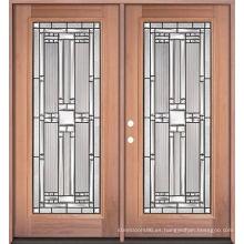 Puertas de madera delanteras dobles de cristal de hierro, puertas de entrada de madera