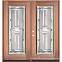Double Iron Glass Front Wooden Doors, Entry Wood Doors