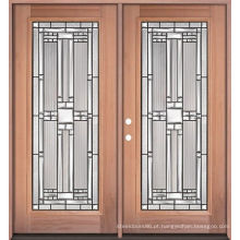 Portas de madeira da parte dianteira de vidro dobro do ferro, portas de madeira da entrada